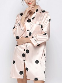Pink Polka Dot Buttons Fashion Sleepwear Robe