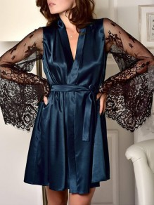 Navy Blue Patchwork Belt Lace V-neck Flare Sleeve Sleepwear Midi Dress