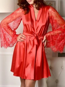 Red Patchwork Belt Lace V-neck Flare Sleeve Sleepwear Midi Dress