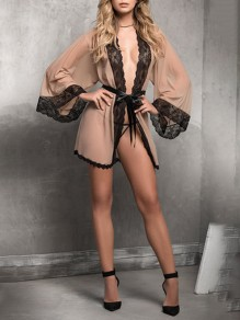 Khaki Patchwork Lace Belt 2-in-1 Long Sleeve Fashion Sleepwear Robe