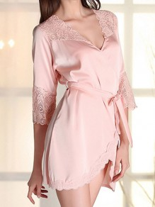 Pink Lace Sashes Wavy Edge V-neck Elegant Pajamas Mini Dress