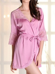 Purple Lace Sashes Wavy Edge V-neck Elegant Pajamas Mini Dress