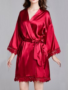 Burgundy Patchwork Lace Sashes Long Sleeve Satin Coat Sleepwear