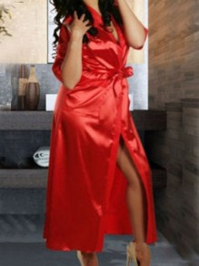 Red Pockets Sashes V-neck Half Sleeve Satin Coat Sleepwear