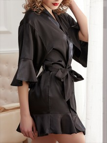 Black Ruffle Sashes V-neck Half Sleeve Elegant Sleepwear Robe Coat