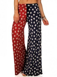 Red-Blue American Flag Pattern Pockets Independence Day Wide Leg Palazzo Pajama Sleepwear Long Pants