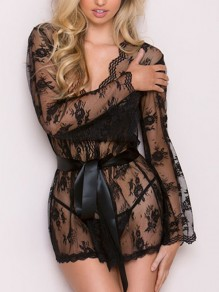 Black Lace Sashes V-neck Long Sleeve Elegant Pajamas Mini Dress