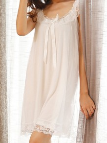 White Lace Bow Backless Round Neck Pajamas Elegant Mini Dress