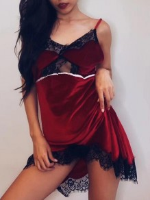 Burgundy Patchwork Lace Spaghetti Strap Backless Irregular Pajama Nightwear Night Dress