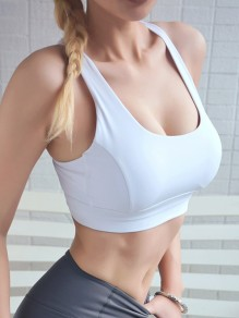 White Cut Out Backless Non-adjusted Straps Sports Bra