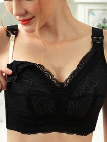 Black Lace Full Cup Adjustable-straps Backless Wire Free Padded Nursing Bras
