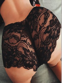 Black Patchwork Lace Sheer Boxershorts Dessous Höschen