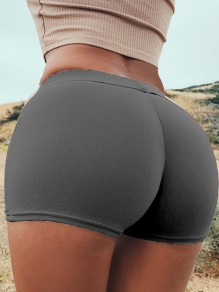 Grey Patchwork Push Up Slim Elastic Waist High Waisted Fashion Lingerie Panties