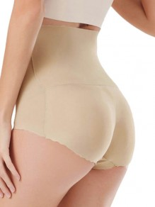 Cintura alta push up big booty shorts lencería bragas beige