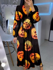 Black Pumpkin Print Halloween V-neck Long Sleeve Fashion Maxi Dress