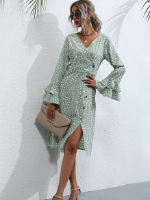 Light Green Floral Ruffle Buttons Slit V-neck Honey Girl Maxi Dress