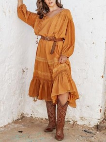 Orange Ruffle V-neck 3/4 Sleeve Big Swing Boho Bohemian Maxi Dress