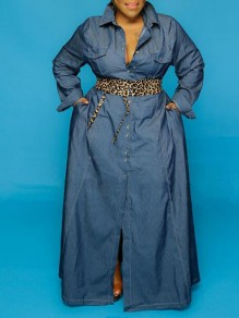 Blue Single Breasted Pockets Turndown Collar Plus Size Denim Maxi Dress