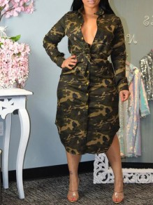 Army Green Camouflage Single Breasted Sashes Turndown Collar Casual Maxi Dress