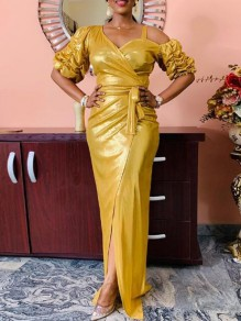 Golden Elegant Party Maxikleid