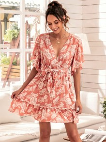 Pink Floral Sashes V-neck Honey Girl Summer Mini Dress