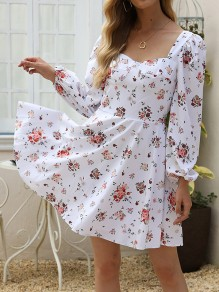 White Floral Backless Square Neck Long Sleeve Honey Girl Mini Dress
