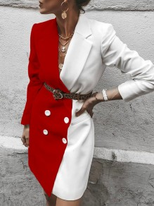 Red White White Hit Color Double Breasted Turndown Collar Blazer Dress