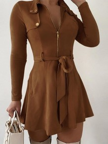 Brown Solid Color Sashes Zipper V-neck Long Sleeve Going Out Mini Dress