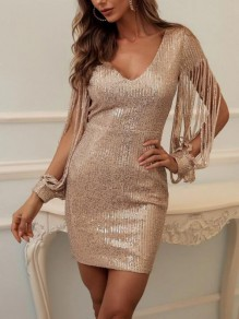 Champagne Patchwork Sequin Tassel Deep V-neck Bodycon NYE Sparkly Party Mini Dress