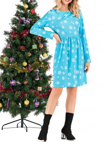 Blue Snowflake Print Round Neck Honey Girl Mini Dress