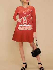 Red Cartoon Print Round Neck Honey Girl Mini Dress