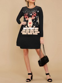 Black Cartoon Print Round Neck Honey Girl Mini Dress