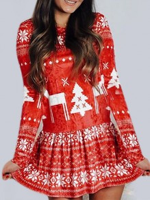 Red Snowflake Print Round Neck Daily Mini Dress