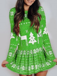 Green Snowflake Print Round Neck Daily Mini Dress