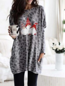 Grey Cartoon Pockets Print Round Neck Daily Mini Dress