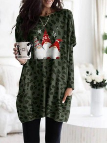 Green Cartoon Pockets Print Round Neck Daily Mini Dress