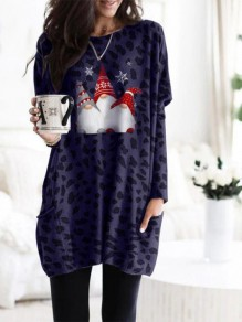 Dark Blue Cartoon Pockets Print Round Neck Daily Mini Dress