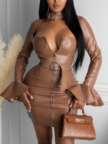 Khaki Belt Cut Out Flare Sleeve Pu Leather Latex Bodycon Mini Dress