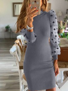 Grey Polka Dot Grenadine Round Neck Going out Mini Dress