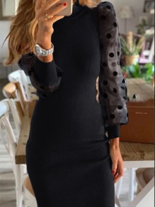 Black Polka Dot Grenadine Round Neck Going out Mini Dress