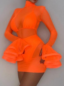 Orange Grenadine High Neck Flare Sleeve Sheer Three Piece Bodycon Mini Dress