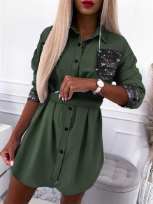 Green Patchwork Buttons Pockets Belt Turndown Collar Streetwear Mini Dress