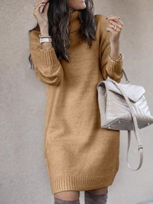 Khaki Solid Color High Neck Long Sleeve Going Out Sweater Mini Dress