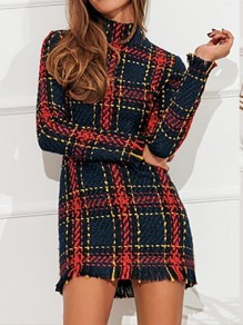 Black Red Plaid Striped Slim High Neck Mini Dress