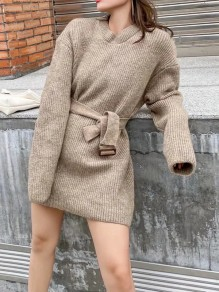 Camel Solid Color Belt Round Neck Elegant Sweater Mini Dress