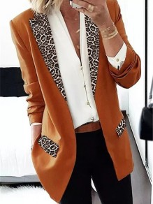 Khaki Leopard Long Sleeve Tailored Collar Going out Blazer