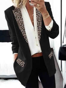 Black Leopard Long Sleeve Tailored Collar Going out Blazer