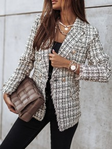 White Plaid Double Breasted Turndown Collar Fashion Blazer