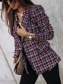 Rose Carmine Plaid Double Breasted Turndown Collar Fashion Blazer
