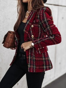 Red Plaid Buttons Turndown Collar Office Worker Blazer